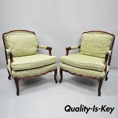 Pair of Vintage French Country Louis XV Style Mahogany Bergere Chairs Armchairs