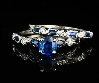 James Allen Natural Blue Sapphire & Diamond Vintage 14K Engagement Ring Band Set