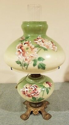 Vintage Antique Green GWTW Oil Lamp Hand Painted Pink Mauve Flowers Electrified
