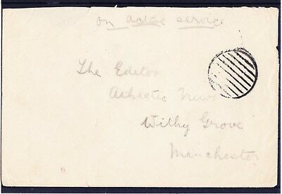 """WW1 Navy Active Service Dumb barred cancel on cover  - addressed """"Athletic News"""""""