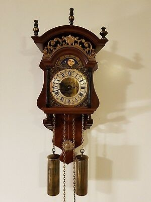 Vintage Dutch Frisian Sallander Clock with Moon Phase (Stoelklok)