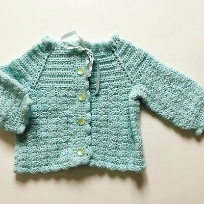 Vintage Hand Knitted Baby Girl Infant Toddler Cardigan Sweater Baby