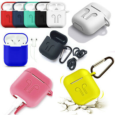 Silicone Protective Case Cover Key Chain With Strap for Apple Airpods Earphones