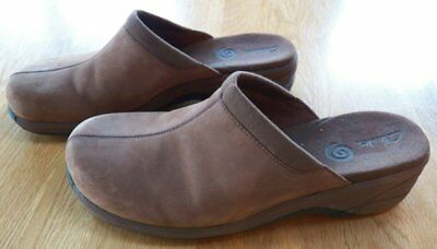 Women's CLARKS Brown Leather Suede Clog/Mule/Slip on SHOES Size 9 M Open Heel
