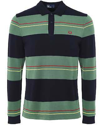 Polo Fred Perry m1562 42 grey bomber sleeve regular cotone striscia ss17