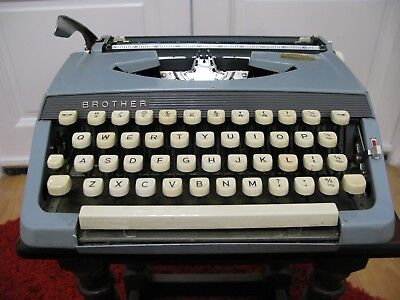 Vintage 1960's Brother Duck Egg Blue Manual Portable Typewriter in Case