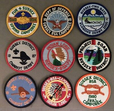 9 Nine BSA Boy Scouts of America Sussex District Delaware Patches No Reserve