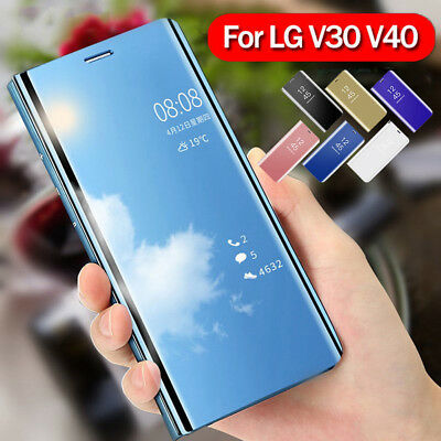 For LG V40 V30 Mirror Clear View Window Leather Wallet Flip Stand Case Cover