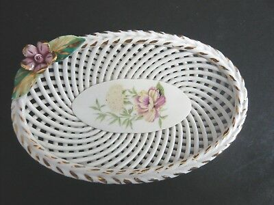 Small Vintage Oval Basket Weave Ceramic Pin Dish with Applied Flower Detail