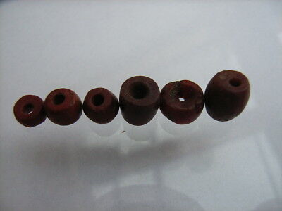 6 Ancient Neolithic Red Jasper Beads, Stone Age, VERY RARE !!