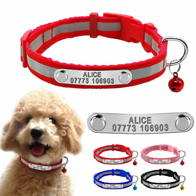 Reflective Personalised Small Dog Collars Pet Puppy Cat Collar&Bell Chihuahua BE