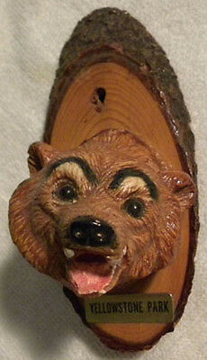 Vintage Grizzly Bear Head on Wood, YELLOWSTONE Park Souvenir