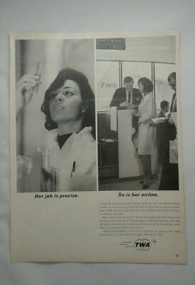 1964 TWA Airlines working woman passenger  ad.