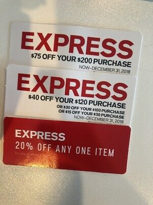 EXPRESS Coupon $40 OFF $120,$30 OFF $100,$15 OFF $30 & $75 OFF $200 EXP 12/31/18