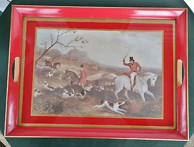 vintage wood drinks tray fox hunt scene red Made in England