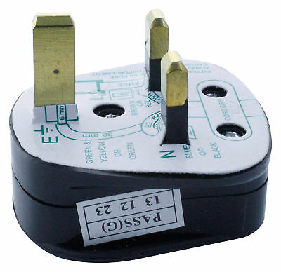 UK 3-Pn Mains Plug with 5A Built-In Fuse - 5A Fused With Shrouded Pins - Black