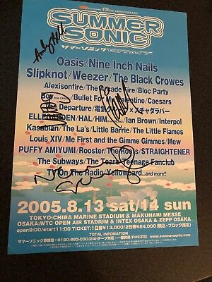 OASIS - JAPANESE SUMMER SONIC 15th ANNIVERSARY FLYER - SIGNED BY BAND