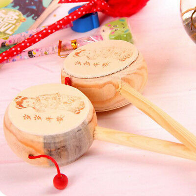 Old Chinese Carved Wooden Child's Hand Bell Rattle Drum Musical Instrument Toy