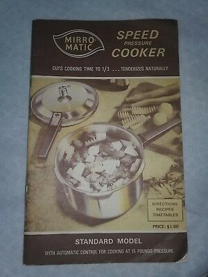 Vintage Mirro-Matic Speed Pressure Cooker Cookbook Manual 1972 56 Pages