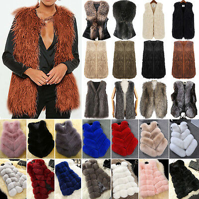 Women's Fluffy Faux Fur Waistcoat Winter Body Warmer Jacket Coat Gilet Vest Tops