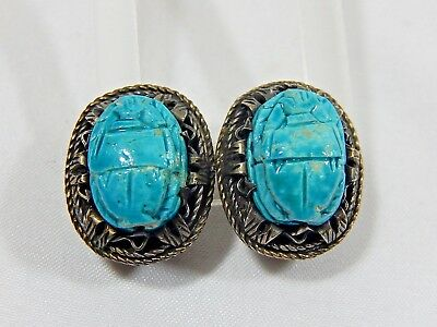 Art Deco Egyptian Revival Turquoise Faience Scarab Beetle 800 Silver Earrings