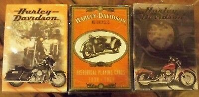 Harley-Davidson Playing Cards, Includes Historical Deck 1930 - 1950  - 3 Decks