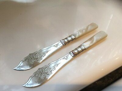 Beautiful Antique James Deakin Silver Plated Mother Of Pearl Butter Knives