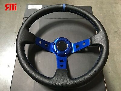 For Polaris RZR Can-Am Yamaha Deep Dish Steering Wheel Black Blue Center 13.75""