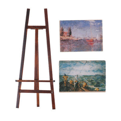 Dollhouse Miniature Accessory Artist Easel Stand & 2 Wood Paintings PictureFBDU