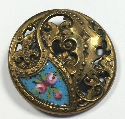Antique French Champleve Button Turquoise w Roses Enamel Brass Pierced Shank