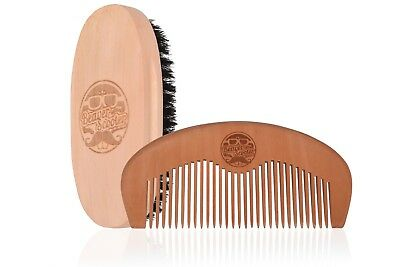 Beaver Scooter Boar Bristle Beard Brush and Pearwood Comb Combo