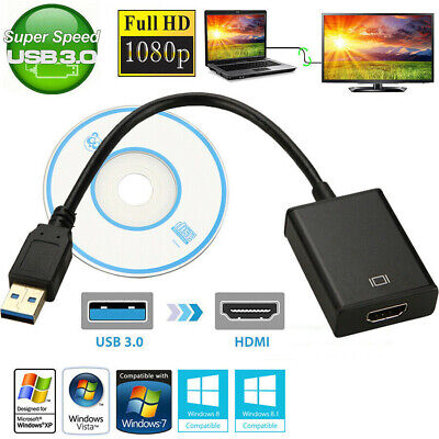USB 3.0 To HDMI Video Adapter 1080P For Windows 7 8 10 PC Cable Audio HD Laptop
