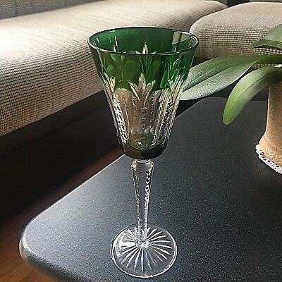 New Signed Faberge Grand Palais  Emerald Crystal Wine Goblet/Glass