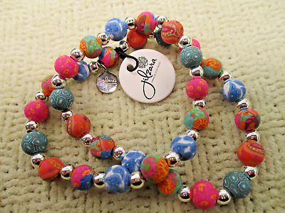 Jilzara Mosaic Premium Clay Bead & Silver Ball Necklace New Designer Jewelry