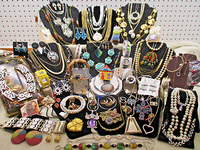 Vtg + Estate Massive 81 Pc Jewelry Lot Quality High End Costume + Designer Lb Q1
