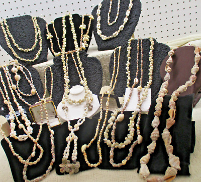 Huge 13 Pc Shell Necklace Vtg Costume Jewelry Lot Tiki Toga Beach Party Favors
