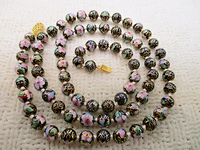 Chinese Cloisonne Mosaic Bead Gold Filigree Clasp Necklace Vtg High End Jewelry
