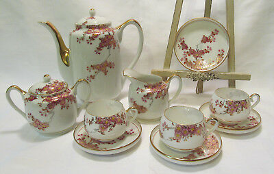 Kutani CPO Japan Vintage Hand Painted Cherry Blossoms Eggshell 12 Piece Tea Set