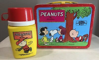Peanuts Thermos Brand Metal Lunch Box 1973 Vintage w/ Thermos