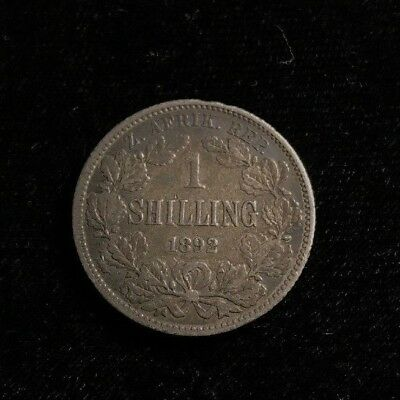 1892 South Africa Shilling Coin .925 Silver Low Mintage