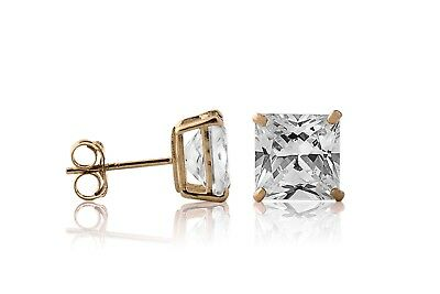 2.00CT Princess Brilliant Cut 14K Yellow/White Solid Gold Stud Earrings