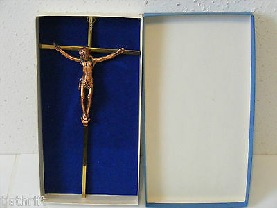 Vintage Brass Copper Tone Jesus Wall Hanging Cross Crucifix Inri Halo 3 Nails ~K