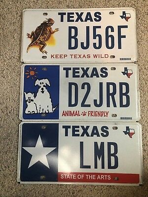 Lot of Three (3) Texas Speciality Official DMV plates.