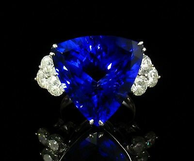 M. CHRISTOFF SIGNED NATURAL 22.22ctw TANZANITE & DIAMOND 14K WHITE GOLD RING