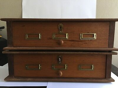 Vintage Wood Library Filing Cabinet (X2)
