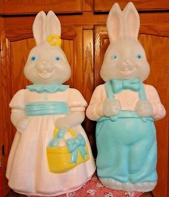 "25"" Empire Boy & Girl Bunny Rabbit Blow Mold Easter Light Up Yard Decor Lawn Art"