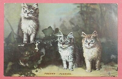 """Dr Who Vintage Pc Cats """"pretty Pussies"""" Tuck's Postcard Unused #14 19748"""