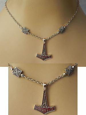 Thor's Hammer Pendant Silver Viking Necklace Jewelry Handmade NEW Adjustable