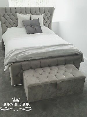 5 Ft King Size Wing Back Bed Frame Uk Handcrafted Chesterfield Sleigh Bed