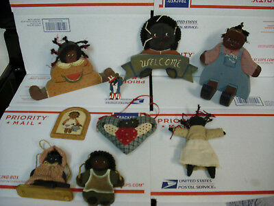 lot black americana doll wooden figures vintage watermelon original paint